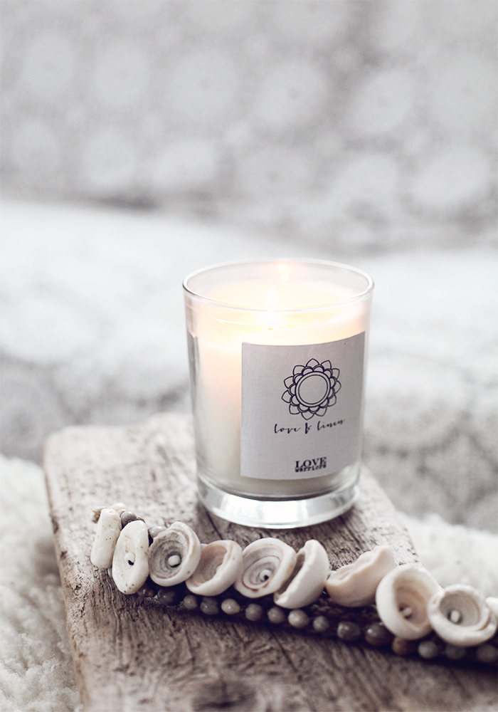 scented candle, shells