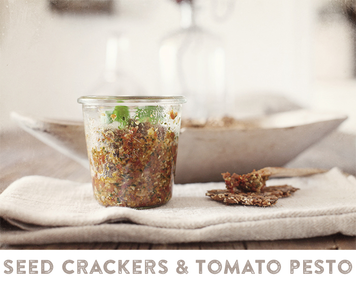 Seed crackers with tomato pesto