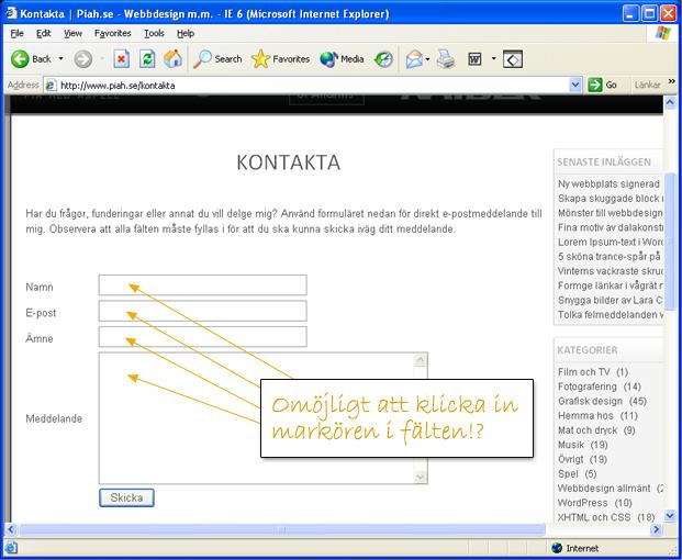 Formulär genom IE6